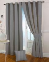 Presto Polyester Black, Grey Door Curtain 210 Cm In Height, Single Curtain