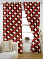 Story @ Home Polyester Red Window Curtain 152 Cm In Height, Single Curtain