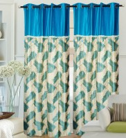 Hargunz Polyester Light Blue Door Curtain 214 Cm In Height, Single Curtain