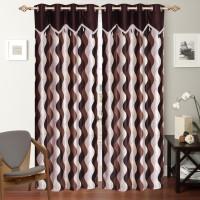 Desirica Polyester Brown Printed Eyelet Door Curtain 213 Cm In Height, Pack Of 2