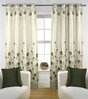 Kings Polycotton Green Floral Eyelet Door Curtain 211 Cm In Height, Pack Of 2