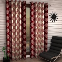 Home Sizzler Polyester Maroon Damask Eyelet Window Curtain 150 Cm In Height, Pack Of 2