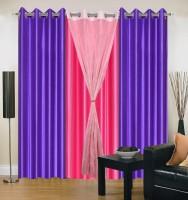 Hargunz Purple||Pink Self Design Eyelet Long Door Curtain 271 Cm In Height, Pack Of 4