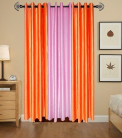 HomeZaara Polyester Orange, Pink Solid Eyelet Door Curtain