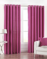 Pindia Polyester Pink Printed Eyelet Door Curtain 214 Cm In Height, Single Curtain
