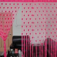 Rasmy Home Decor Net Pink Self Design Eyelet Window & Door Curtain 205 Cm In Height, Single Curtain