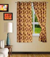 Story @ Home Polyester Brown Printed Eyelet Window Curtain 152 Cm In Height, Single Curtain