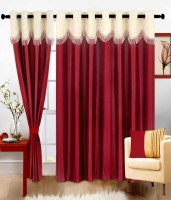 Jh Decore Polyester Maroon Damask Eyelet Door Curtain 210 Cm In Height, Single Curtain