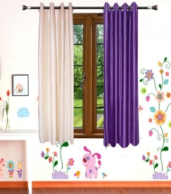 DECO INDIA Polyester Multi - Colour Plain, Printed Eyelet Window Curtain