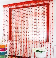 The Intellect Bazaar Polyester Red Floral Eyelet Window Curtain 213 Cm In Height, Pack Of 2