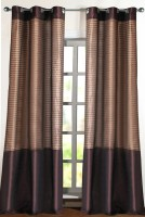 Deco Window Polyester Brown Door Curtain 274.32 Inch In Height, Single Curtain