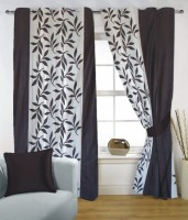 Fabutex Polyester Black, White Window Curtain 150 Cm In Height, Single Curtain