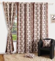 Swayam Satin, Silk Grey Printed Eyelet Door Curtain 90 Inch In Height, Single Curtain