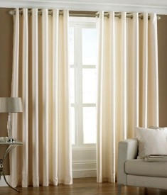 Hargunz Polyester Beige Abstract Eyelet Window Curtain
