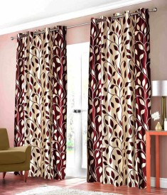 Elegence Polyester Red Abstract Eyelet Door Curtain