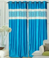 Madhav Product Polyester Blue Door Curtain 212 Cm In Height, Single Curtain