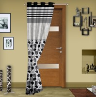 Story@Home Jacquard Black Printed Eyelet Door Curtain 215 Cm In Height, Single Curtain