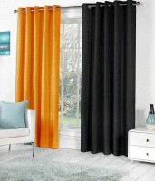 Home Fashion Gallery Polyester Multicolor Plain Eyelet Window Curtain 152.4 Cm In Height, Pack Of 4