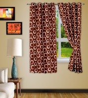 Story @ Home Polyester Brown Printed Eyelet Window Curtain 152 Cm In Height, Pack Of 2