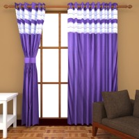 Trendz Home Furnishing Polyester Dark Blue Plain Eyelet Window & Door Curtain 213 Cm In Height, Single Curtain