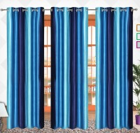 Comfort Zone Polyester Crush Sky Blue And Blue Solid Eyelet Long Door Curtain 274.32 Cm In Height, Pack Of 3