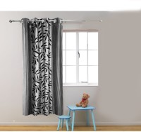 Homefab India Polyester Grey Floral Eyelet Door Curtain 182.88 Cm In Height, Single Curtain