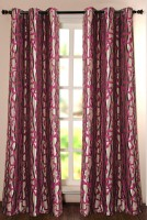 Deco Window Polyester Maroon Self Design Eyelet Door Curtain 228.6 Inch In Height, Single Curtain