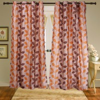 Shiva's Polyester Brown Printed Ring Rod Door Curtain 215 Cm In Height, Pack Of 2