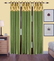 CREATOS Polyester Green Plain Eyelet Door Curtain 213 Cm In Height, Pack Of 3