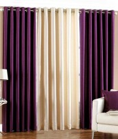 Elegence Polyester Multicolour Plain Curtain Long Door Curtain 274 Cm In Height, Pack Of 3