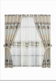 Zeneeze Decor Satin Golden Floral Eyelet Window & Door Curtain