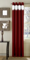 Trendy Home Polyester Maroon Plain Eyelet Door Curtain 203.2 Cm In Height, Single Curtain