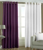 New Royal Polyester Multi-Colour Plain Eyelet Long Door Curtain 274 Cm In Height, Pack Of 2
