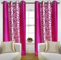 SLV Home Decor Polyester Pink Floral Eyelet Window Curtain 152.4 Cm In Height, Pack Of 2