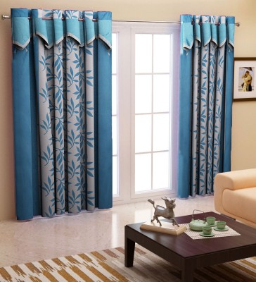 Home Candy Polyester Blue Geometric Eyelet Door Curtain (212 cms in Height, Pack of 2)