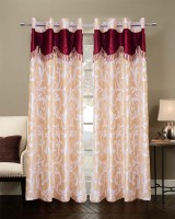 Jh Decore Polyester Ivory Printed Eyelet Door Curtain 210 Cm In Height, Single Curtain