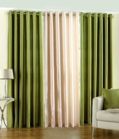 Mirchifry Polyester Beige, Green Window Curtain 60 Inch In Height, Pack Of 3