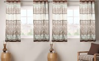 Fabutex Polyester Brown And Gold Floral Eyelet Window Curtain 152 Cm In Height, Pack Of 4