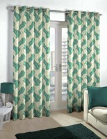 Skipper Polyester Beige/Blue Floral Eyelet Door Curtain 214 Cm In Height, Single Curtain