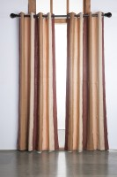 Marigold Cotton Brown Striped Eyelet Door Curtain 213.36 Cm In Height, Single Curtain