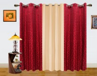 Dekor World Polyester Window Curtain (Pack Of 3, 59 Inch/150 Cm In Height, Maroon, Beige)