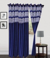 Decor Vatika Polyester Door Curtain (Single Curtain, 84 Inch/214 Cm In Height, Dark Blue)