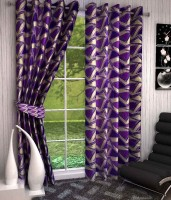 K Decor Polyester Purple Printed Eyelet Door Curtain 213 Cm In Height, Single Curtain - CRNEFF6ZYJJZHHEX