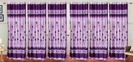 Stella Creations Polyester Purple Printed Eyelet Door Curtain