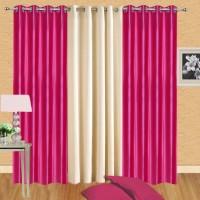Excel Bazaar Polyester Dark Pink, Cream Solid Eyelet Long Door Curtain 274 Cm In Height, Pack Of 3