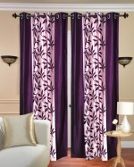 Fresh From Loom Fresh From Loom Polycotton Purple Floral Eyelet Door Curtain
