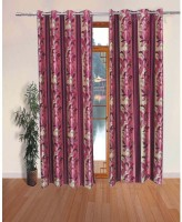 K Decor Polyester Pink Printed Eyelet Door Curtain 84 Inch In Height, Single Curtain