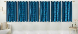 Stella Creations Polyester Light Blue Printed Eyelet Window Curtain