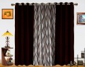 Dekor World Waves In The Air With Solid Window Curtain - Pack Of 3