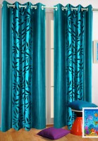 Homefab India Polyester Blue Long Door Curtain 243.84 Cm In Height, Single Curtain